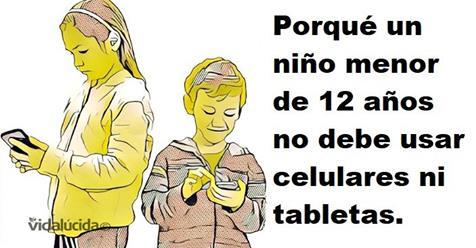 Niños de 12 años con Tablets y celulares