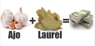 El frasco de la suerte con ajo y laurel